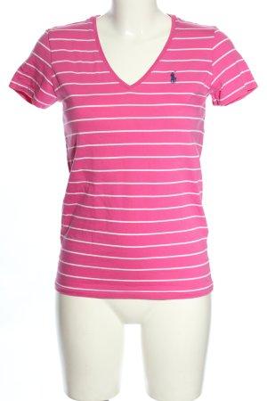 Ralph Lauren Sport V-Ausschnitt-Shirt pink-weiß Schriftzug gestickt Casual-Look