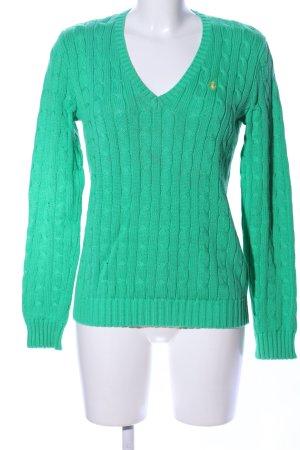 Ralph Lauren Sport Zopfpullover grün Zopfmuster Casual-Look