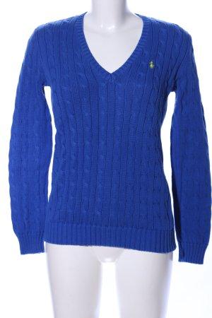 Ralph Lauren Sport Maglione intrecciato blu punto treccia stile casual