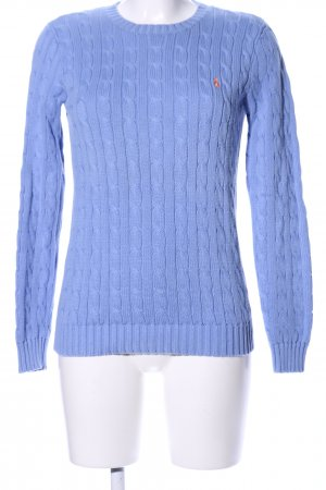 Ralph Lauren Sport Cable Sweater blue cable stitch business style
