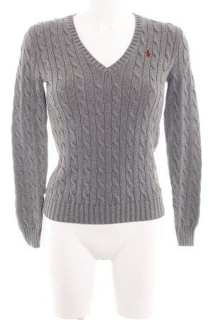 Ralph Lauren Sport Warkoczowy sweter jasnoszary