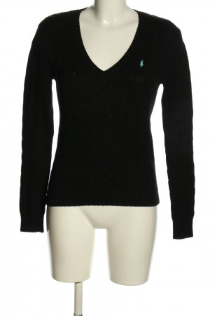 Ralph Lauren Sport Warkoczowy sweter czarny-biały Warkoczowy wzór