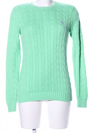 Ralph Lauren Sport Cable Sweater turquoise cable stitch casual look