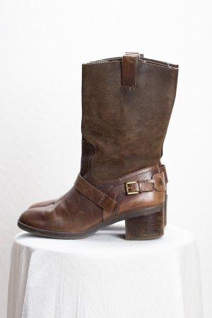 Ralph Lauren Riding Boots dark brown-brown leather