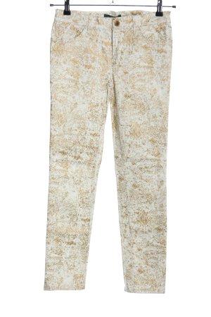 Ralph Lauren Stoffhose weiß-braun abstraktes Muster Casual-Look