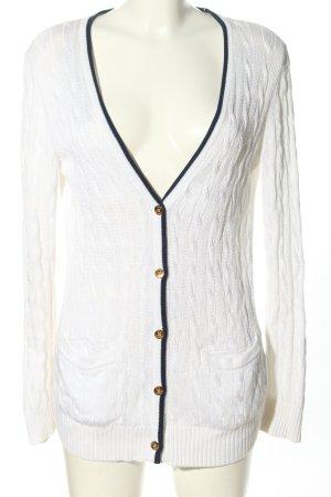 Ralph Lauren Cardigan in maglia bianco punto treccia stile casual