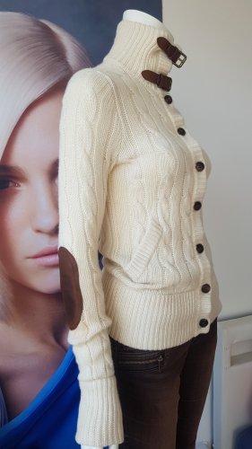 Ralph Lauren Cardigan tricotés gris brun-blanc cassé