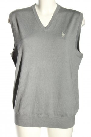 Ralph Lauren Knitted Vest light grey embroidered lettering casual look