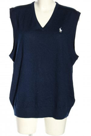 Ralph Lauren Knitted Vest blue embroidered lettering casual look