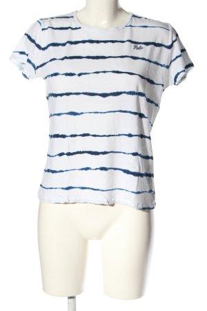 Ralph Lauren T-Shirt weiß-blau Streifenmuster Casual-Look