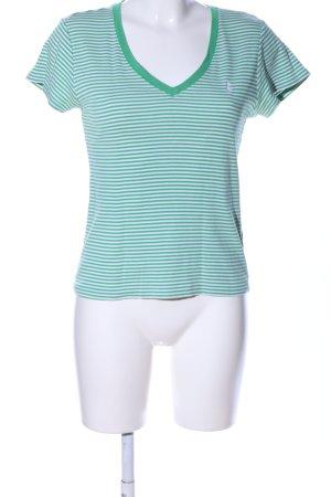 Ralph Lauren T-Shirt weiß-grün Streifenmuster Casual-Look