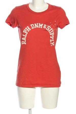 Ralph Lauren T-Shirt rot-wollweiß Schriftzug gedruckt Casual-Look