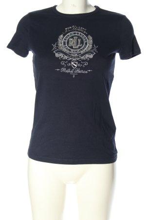 Ralph Lauren T-Shirt blau-silberfarben Schriftzug gestickt Casual-Look