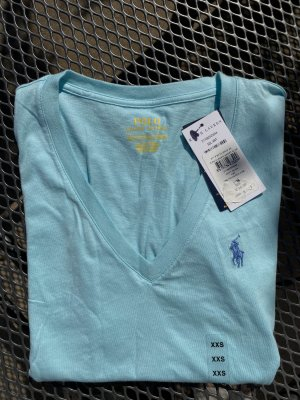 Ralph Lauren T-shirt col en V bleu clair