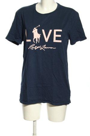 Ralph Lauren T-Shirt blau-nude Schriftzug gedruckt Casual-Look