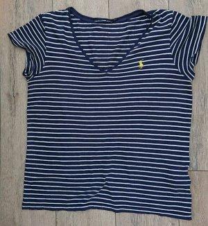 Ralph Lauren T-Shirt Damen Gr.M blau gestreift V-Ausschnitt -S124