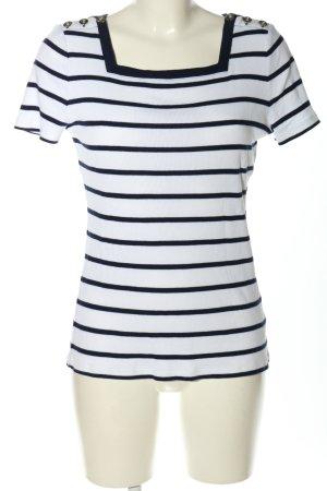 Ralph Lauren T-Shirt weiß-schwarz Streifenmuster Casual-Look