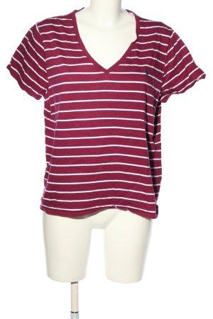 Ralph Lauren T-Shirt lila-weiß Streifenmuster Casual-Look