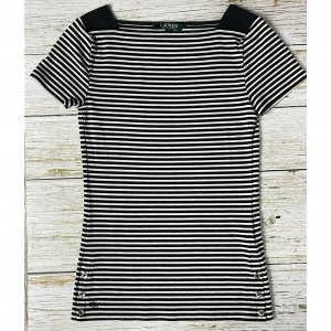 Ralph Lauren T-Shirt Gr. XS UK 6 schwarz weiss gestreift Maritim Matrosenhemd
