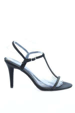 Ralph Lauren Sandalo con tacco alto e lacci a T nero stile casual
