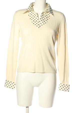Ralph Lauren V-Ausschnitt-Pullover creme-schwarz Punktemuster Casual-Look