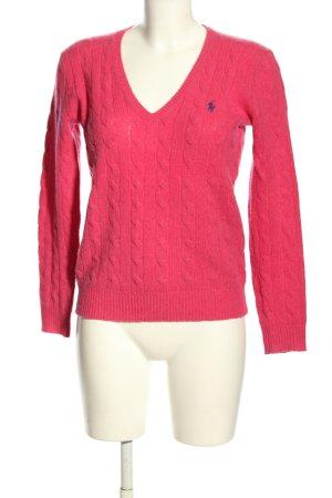 Ralph Lauren Maglione con scollo a V rosa punto treccia stile casual