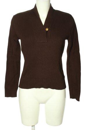 Ralph Lauren V-Ausschnitt-Pullover braun Streifenmuster Casual-Look