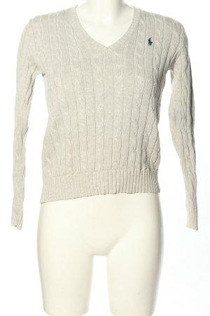 Ralph Lauren Maglione con scollo a V bianco sporco punto treccia stile casual