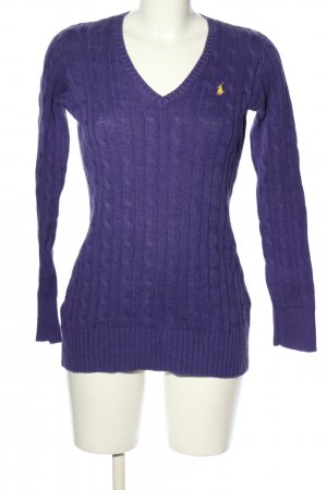 Ralph Lauren V-Neck Sweater lilac cable stitch casual look