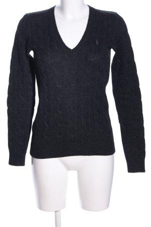Ralph Lauren V-Ausschnitt-Pullover dunkelgrau Zopfmuster Casual-Look