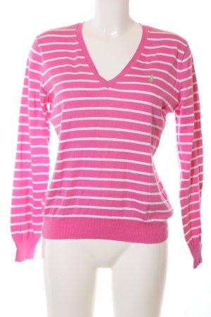 Ralph Lauren V-Ausschnitt-Pullover pink-weiß Streifenmuster Casual-Look