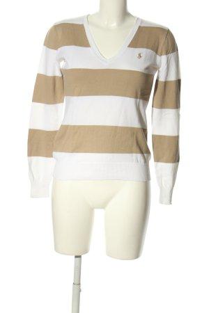 Ralph Lauren V-Ausschnitt-Pullover weiß-braun Streifenmuster Casual-Look