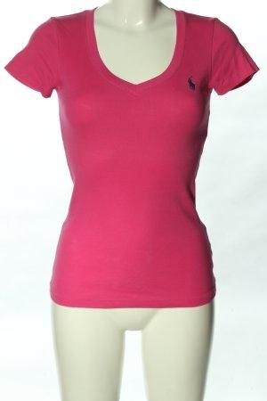 Ralph Lauren T-shirt col en V rose-noir lettrage brodé style décontracté