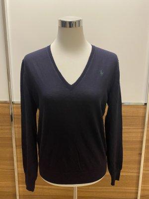 Ralph-Lauren V-Neck Pullover in dunkelblau aus 100%Wolle- neuwertig