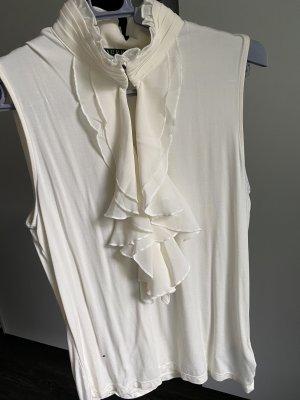 Lauren by Ralph Lauren Top z falbanami w kolorze białej wełny-biały