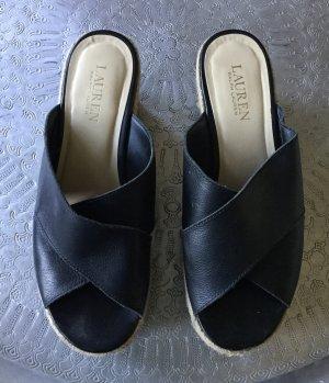Ralph Lauren Mule à talon noir-beige clair