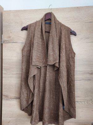 Lauren by Ralph Lauren Gilet long tricoté brun
