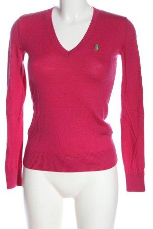 Ralph Lauren Wollpullover pink Schriftzug gestickt Casual-Look