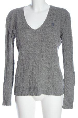 Ralph Lauren Jersey de lana gris claro punto trenzado look casual