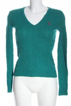Ralph Lauren Wool Sweater turquoise cable stitch casual look