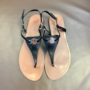 Lauren by Ralph Lauren High-Heeled Toe-Post Sandals black leather