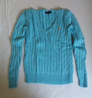 Ralph Lauren Zopfmuster Pullover Blau türkis