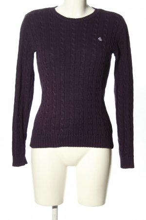 Ralph Lauren Warkoczowy sweter fiolet Wyhaftowany logo W stylu casual