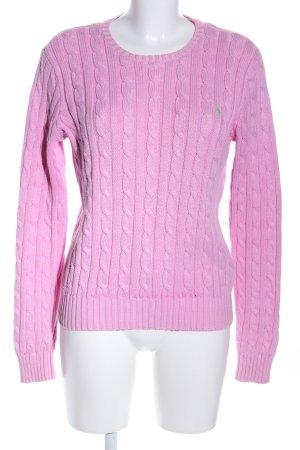 Ralph Lauren Zopfpullover pink Zopfmuster Business-Look