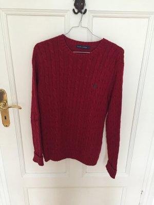 Ralph Lauren Warkoczowy sweter bordo Bawełna