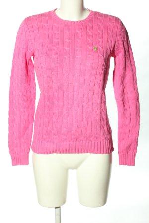 Ralph Lauren Zopfpullover pink Zopfmuster Casual-Look
