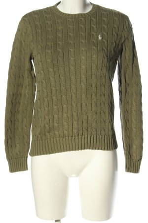 Ralph Lauren Cable Sweater khaki cable stitch casual look