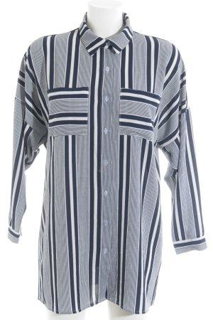 Rare london Camicia blusa blu scuro-bianco sporco motivo a righe stile casual