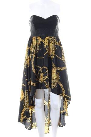 Rare london Vokuhila-Kleid schwarz-blassgelb Allover-Druck Elegant