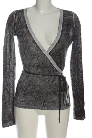 Rare Cache-cœur en tricot gris clair moucheté style décontracté